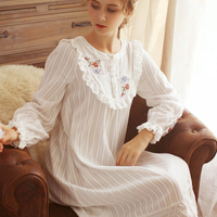 Embroidery Nightgown Women Sleepwear Vintage Nightgown Princess Nightgown Dress