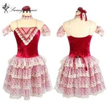 رومانسي أداء الرقص توتو اللباس راقصة الباليه الطفل النبيذ الأحمر الماس صد جيزيل BL0110