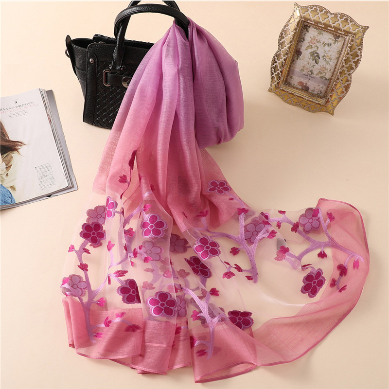2019 Spring Floral Embroidery   Scarf   Women Head   Wraps   Hijab Foulard Shawl Elegant Ladies Bandana Lace Long Organza Silk   Scarves