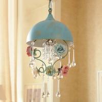 Rural Dressing room art deco lighting Dining Room Hanging crystal pendant lamp led Light Blue Iron Staircase Bar Lamp 110 220V