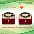 Free Shipping 2sets Black stone Tourmaline bracelet of fashion healthcare PR-B20 Couple