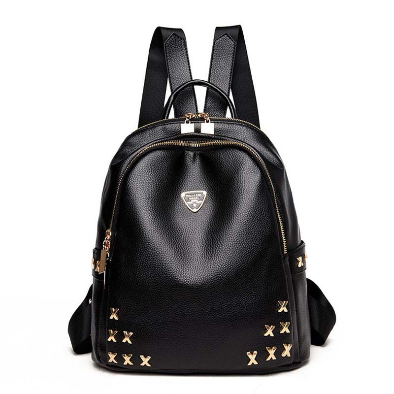 Vintage Rivet PU Leather Woman Backpack High Quality Women Backpacks Fashion School Bags for Teenagers Girls Mochilas Mujer