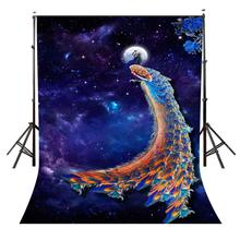 150x220cm Ultra Violet Night Sky View Backdrop Beautiful Peacock Photography Background