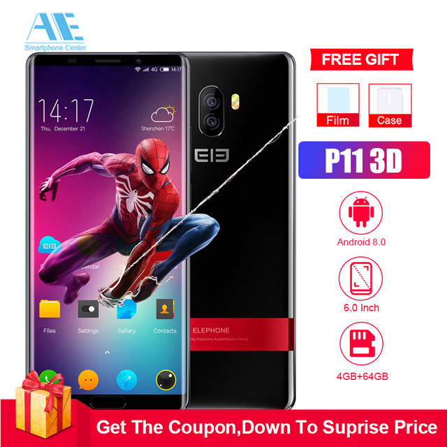 Elephone P11 3D 4G LTE 6.0 inch Android 8.0 Helio X25 Deca Core 2.5GHz 4GB RAM 64GB ROM 16.0MP Rear Camera Fingerprint Sensor 3