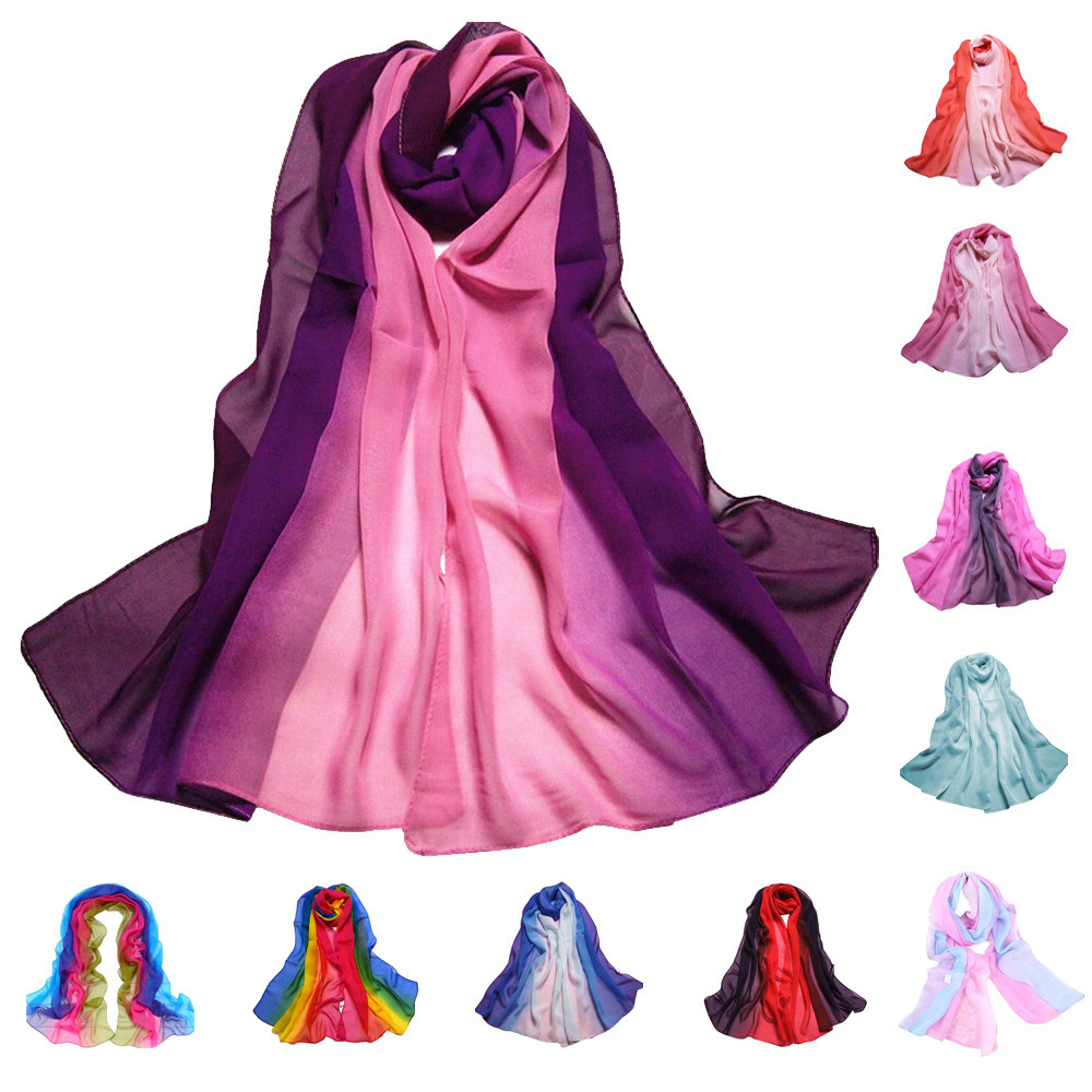 9 Color Gradient Fashion Chiffon   Scarf   Women's Long   Wraps   and Shawls Lady Spring Autumn   Scarves   Plus Size Bandana Hijab Stoles