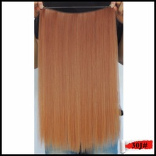 Hair Extension False Mega Flip in Extensiones Synthetic Straight Hairstyle Fast Ticking Hairpiece Camel Brown 20inch 50g Color