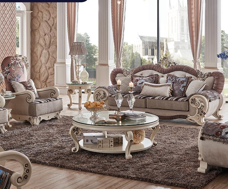 €8055.4  Canapé sectionnel moderne meubles de salon canapé en tissu 1 + 2 +  3 + table centrale + 3 table d\'angle + table de loisirs PRF5003-in Canapés  ...