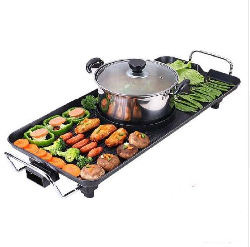 Free shipping Multifunctional Korean Barbecue Pits Fondue Electric Hotplate Smokeless Bbq Grill Suit 7 Or More People free shipping infrared gas burner korean 3d grill electric hotplate outdoor household portable smokeless nonstick bbq pot