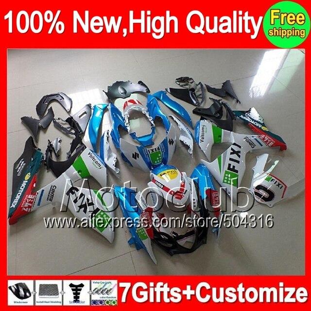 7gift  For SUZUKI GSXR1000 GSXR-1000 09 10 11 12 13 90MC32 K9 GSXR 1000 GSX R1000 Blue white 2009 2010 2011 2012 2013 Fairing