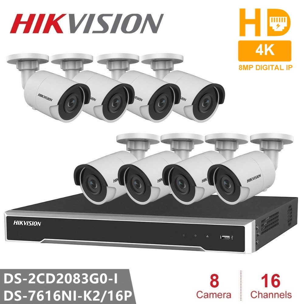 Hikvision CCTV System 16CH Embedded Plug Play 4K NVR 8PCS DS 2CD2083G0 I 8MP Bullet Network