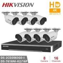 Hikvision CCTV System 16CH Embedded Plug & Play 4K NVR + 8PCS DS 2CD2083G0 I 8MP Bullet Network Camera POE H.265 Security Camera