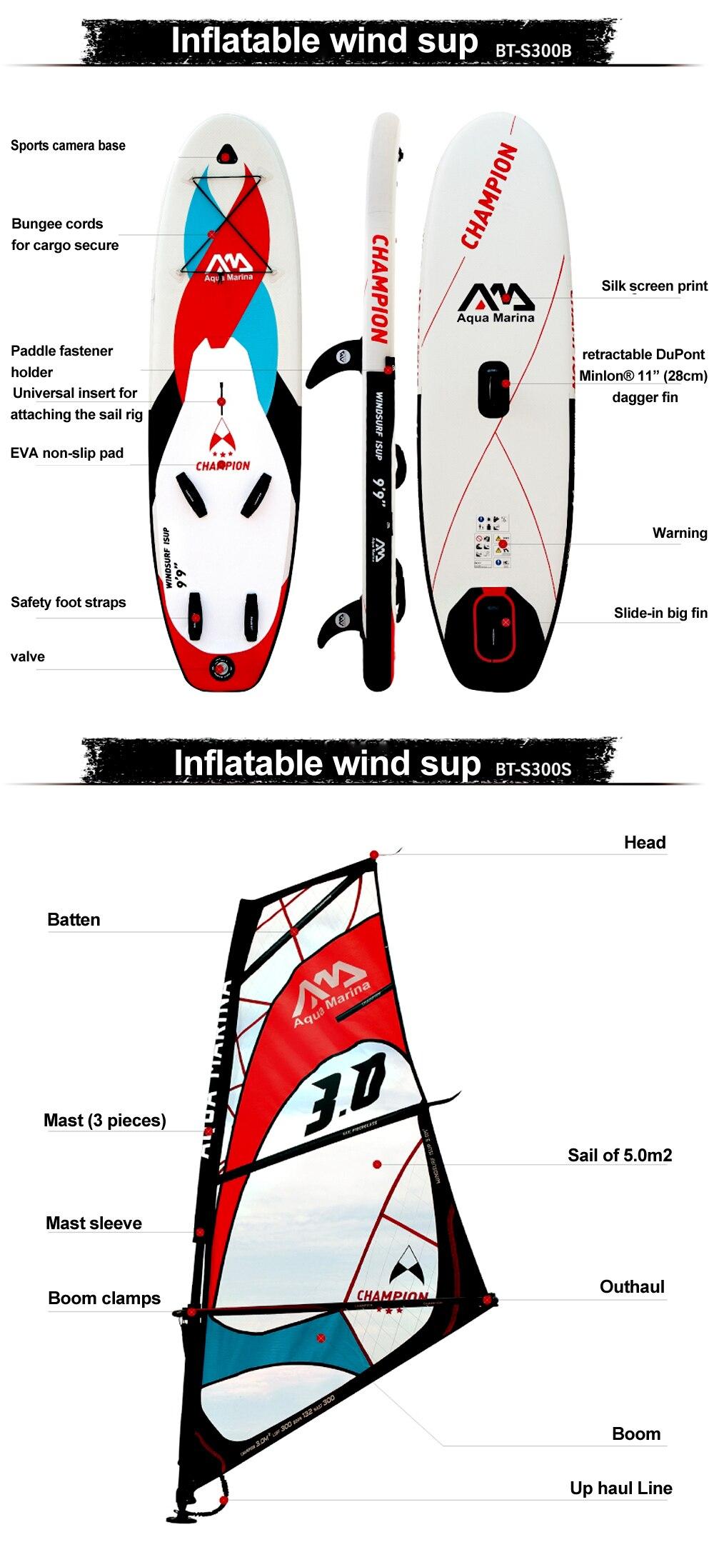 a264bc6e9 Compre Aqua Marina Inflável SUP Windsurf SUP WindSUP Prancha De Surf ...