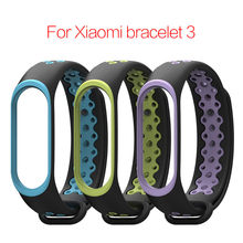 Two colors For Xiaomi Mi Band 3 Strap mi band 4 strap Bracelet Silicone Wrist band Strap for Mi band 3 Smart watch Accessories(China)