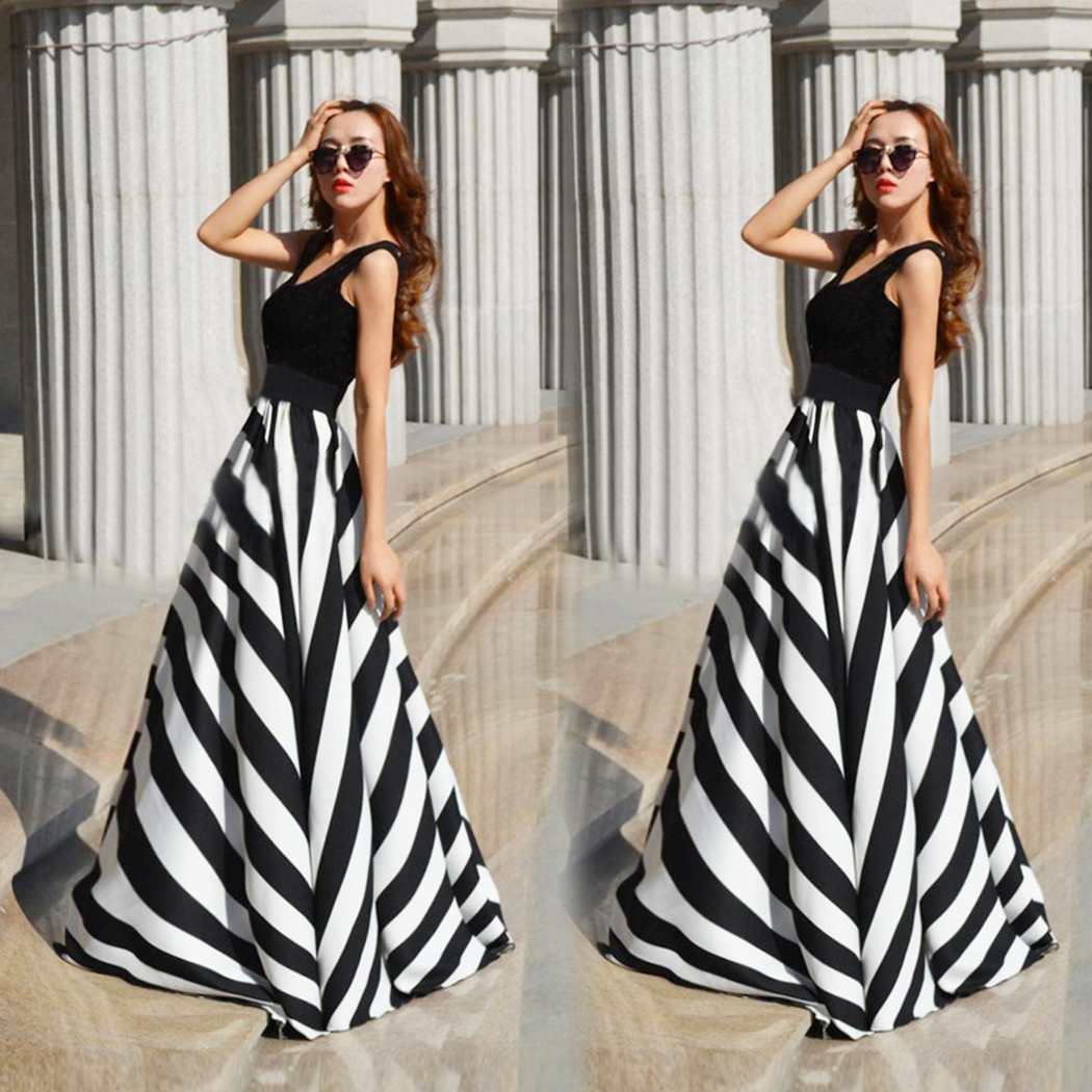 2018 Summer Elegant Maxi <font><b>Dress</b></font> <font><b>Women</b></font> <font><b>Sexy</b></font> <font><b>Sleeveless</b></font> <font><b>Striped</b></font> Long <font><b>Beach</b></font> <font><b>Dress</b></font> Female Plus Size Tunic <font><b>Dresses</b></font> Bodycon Robe Femme image