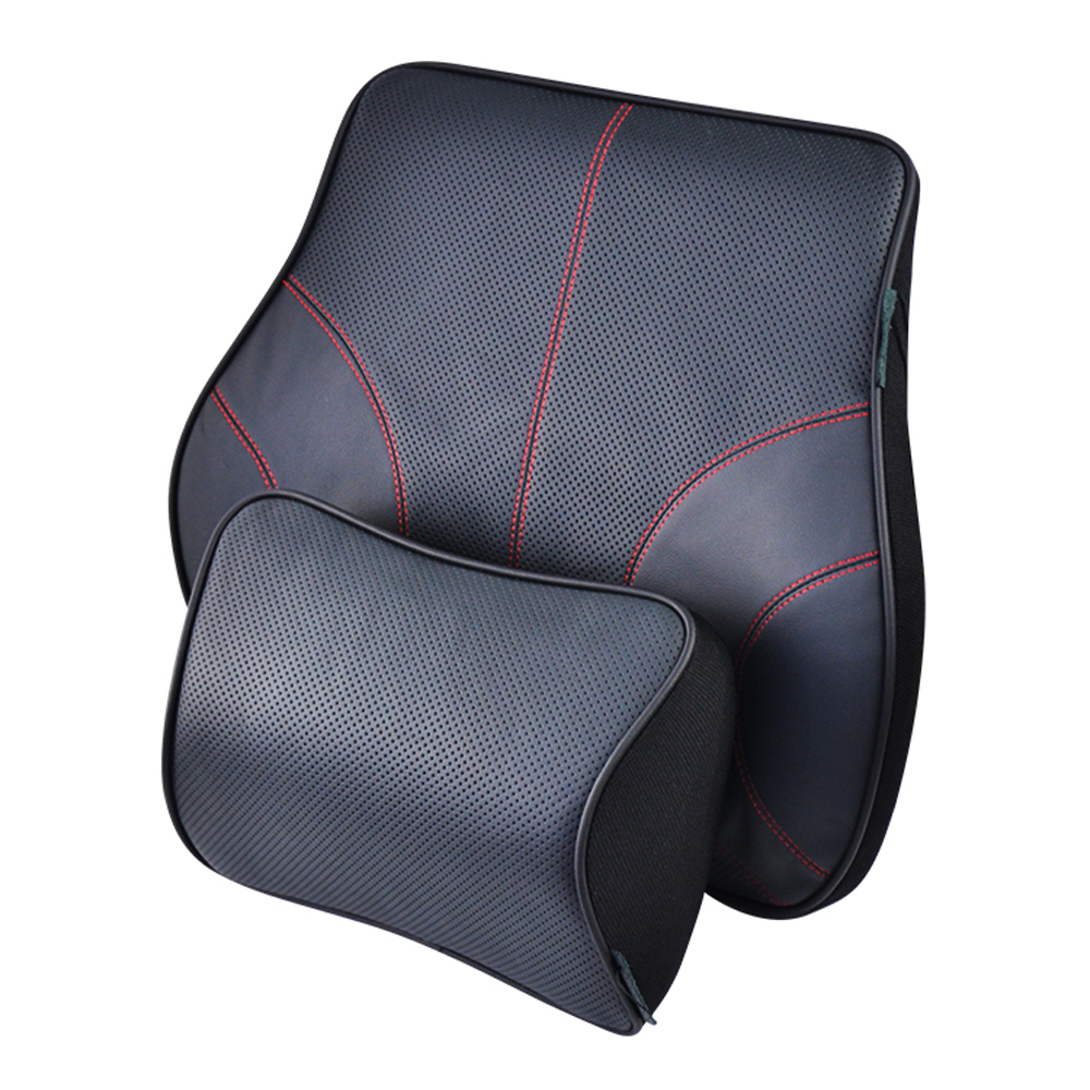 HuiER Genuine Top layer Cowhide Leather Car Lumbar Back Support Cushion Headrest Supplies Memory Foam Car styling Seat Support