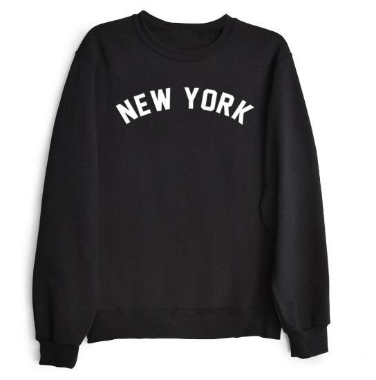 1db3a00986d US $17.09 |New YORK Letter Printed Sweatshrit Crewneck Women/Men Style  Funny Hoodies Pullover O Neck Cotton Jumper Tops Black/White/Pink-in  Hoodies & ...