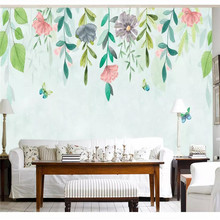Custom 3d wallpaper hand-painted flower vine simple fashion background wall painting high-grade waterproof material