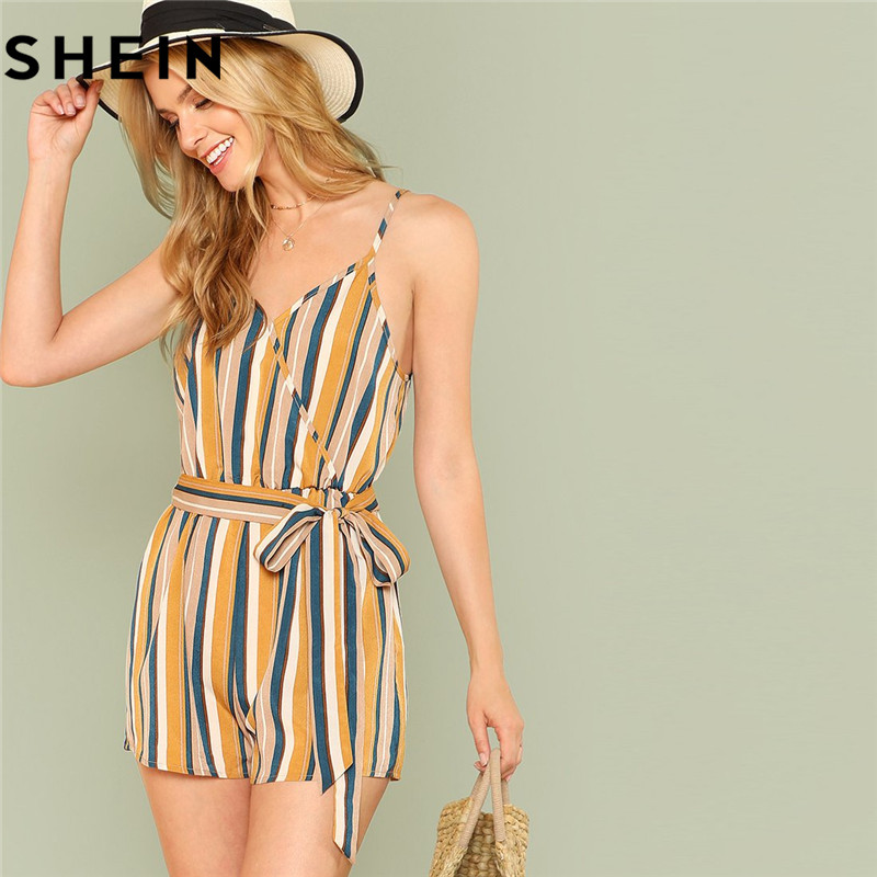 637fa81b1c3c SHEIN Women Blue Stripes Rolled Hem Pinstripe Romper 2018 Summer Polyester  Casual Overalls Mid Waist Sleeveless Preppy Playsuits