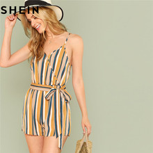 SHEIN Spaghetti Strap 2018 Summer Beach Boho Women Playsuits Mid Waist Elastic Belted Striped Wrap Casual Vacation Cami Romper