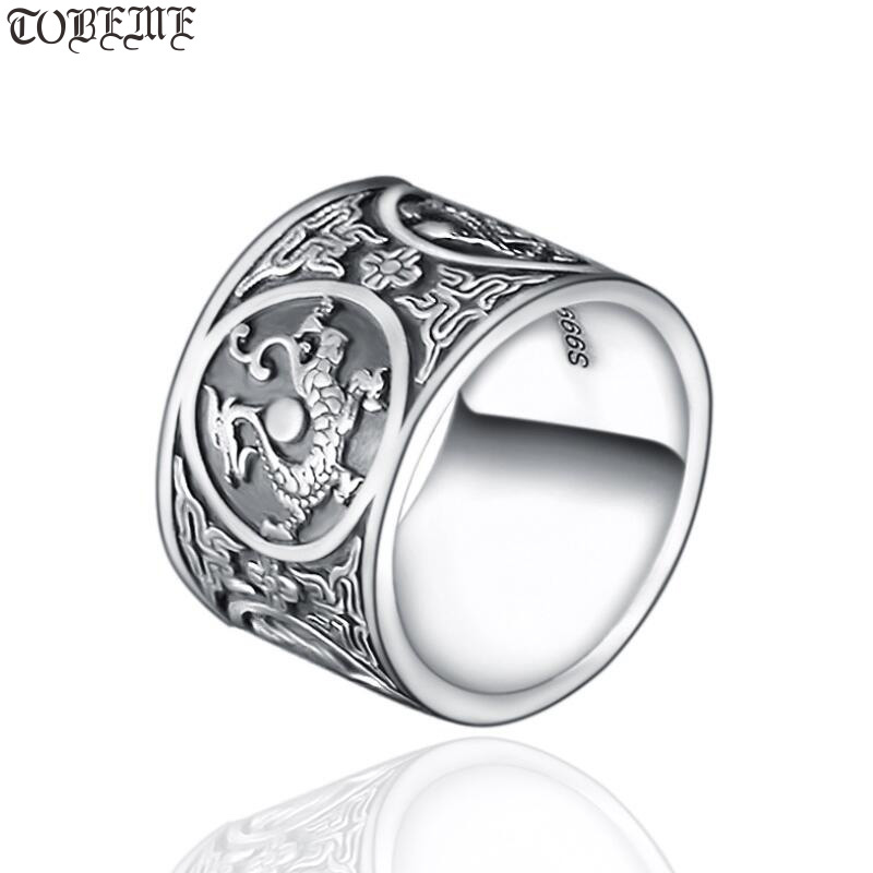 Handmade 999 Silver Dragon Tiger Ring The Chinese Four Mythic Beasts Ring Real Pure Silver Good