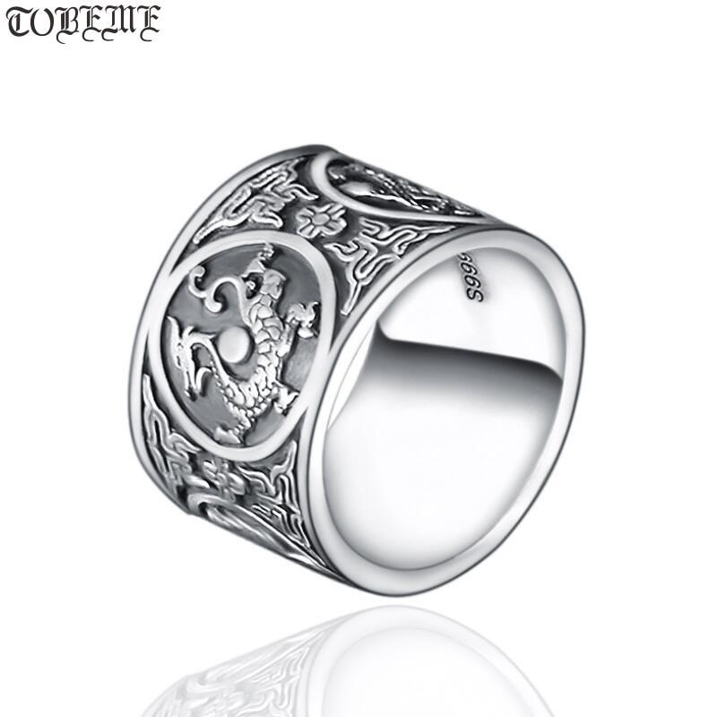 Fait à la main 999 argent Dragon tigre anneau les quatre bêtes mythiques chinois anneau réel pur argent bonne chance bague Fengshui bijoux chanceux
