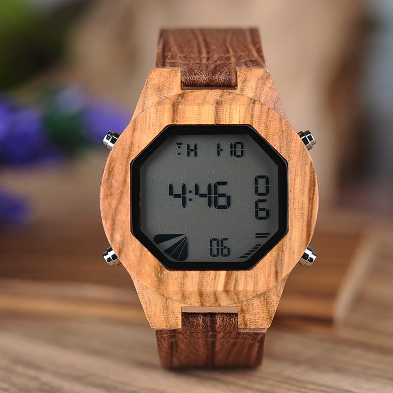 455c1e646 קנו שעוני גברים | BOBO BIRD L-A13 Fashion Zebra Wooden Digital Watch with  Four Button Adjust Time for Men in Paper Gift Box