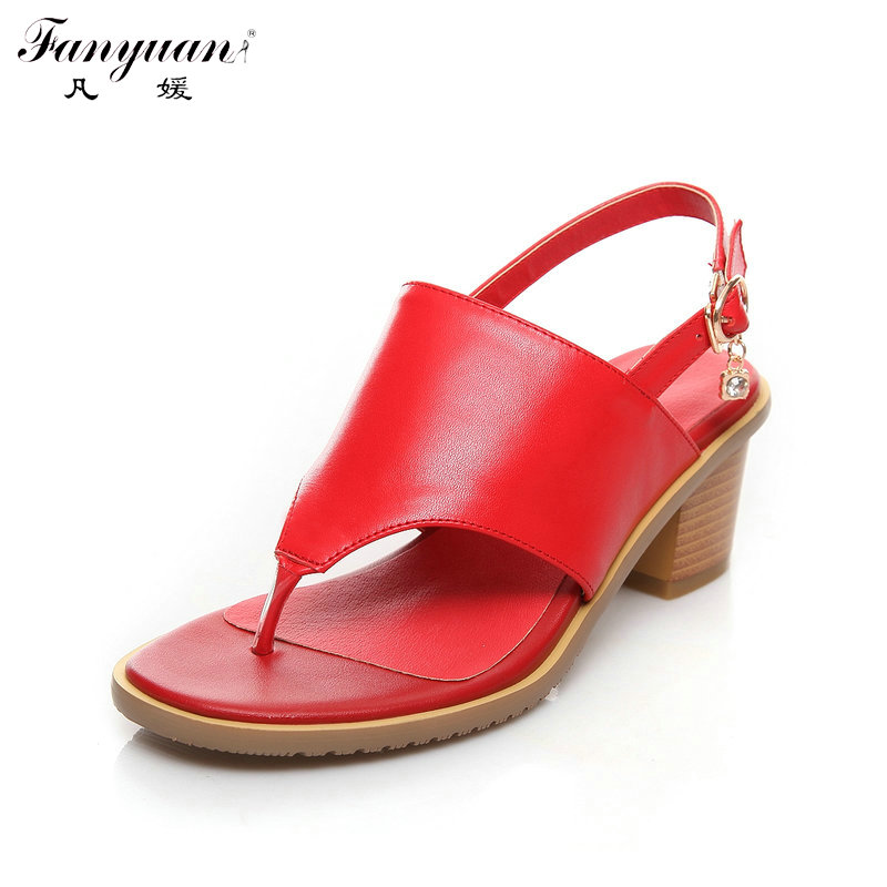 ФОТО Genuine Leather Sandals Women Shoes Back Strap Flip Flops Sandals Chunky Med Heels Shoes Plus Size 2017 Ladies Summer Sandals