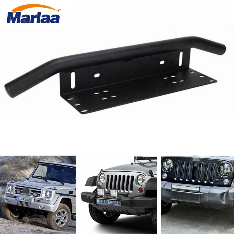 Aluminum License Plate Frame >> License Plate Holder and Light Bar Mount Aluminum Bull Bar Style Front Bumper Number Plate Frame ...