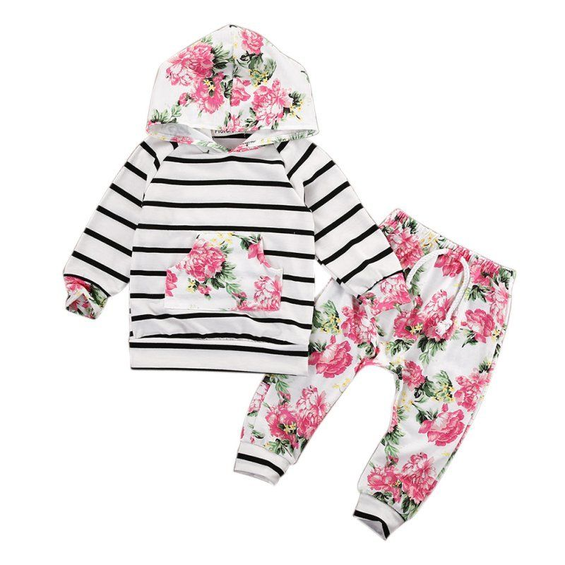 2PCS Baby Girls Clothes Sets Hooded Pullover Tops Casual Striped Pants Packet Clothes Sets Outfits Floral