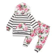2PCS Baby Girls Clothes Sets Hooded Pullover Tops Casual Str