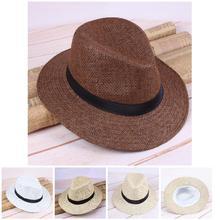2019 Newly Droppshiping Men Straw Panama Hat Handmade Cowboy Cap Summer Beach Travel Sunhat BFJ55