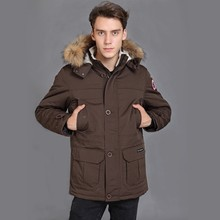 Waterproof  2017 Brand New Big Detachable Raccoon fur Thick Winter Cottoon down mens Yong Expedition Banff parka