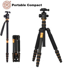 QZSD Q666C Professional Carbon Fiber Tripod Monopod + Ball Head For DSLR Camera / Portable Traveling Tripod Stand Max load 15kg
