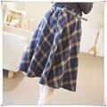 2015 skirt England woolen plaid high waist skirt umbrella skirts Sen female long autumn and winter retro art skirt with belt