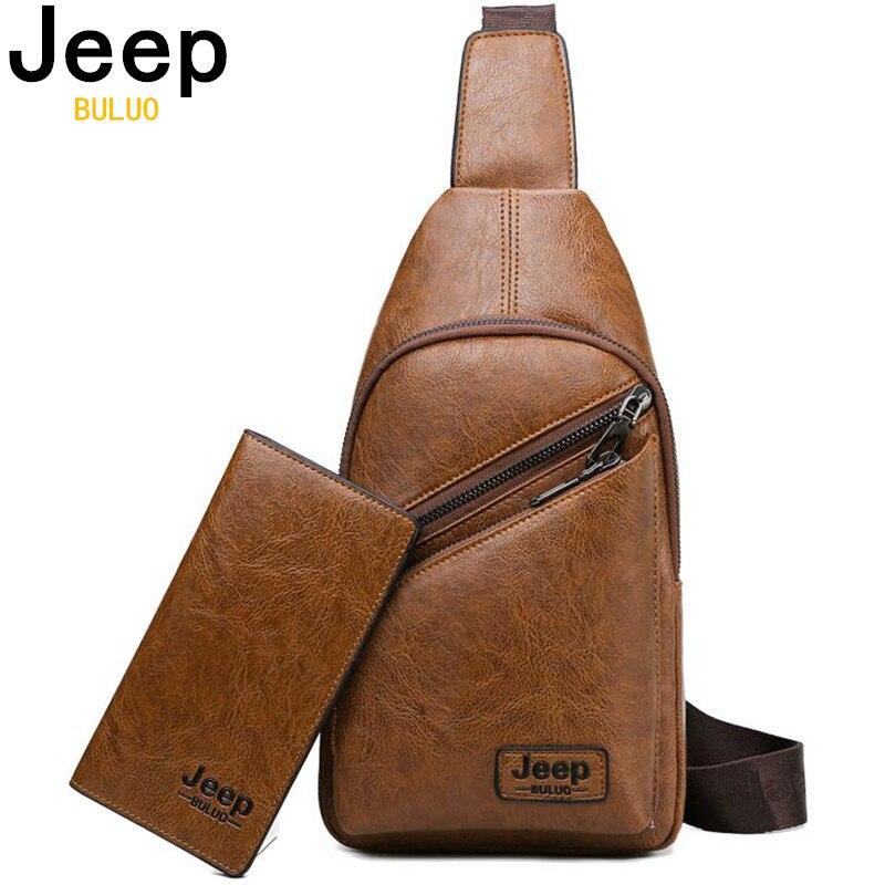 JEEP BULUO 브랜드 남자 슬링 가방 2 개/대 가죽 가슴 가방 대학생 캐주얼 남자 가방 Crossbody 어깨 가방