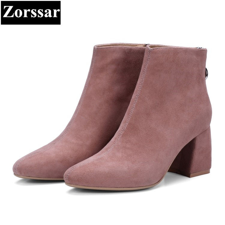 {Zorssar} 2017 NEW fashion Cow suede Womens boots pointed Toe Thick heels ankle Boots Autumn winter women shoes with heels zorssar 2018 new fashion women shoes round toe thick heel ankle snow boots patent leather high heels womens boots winter