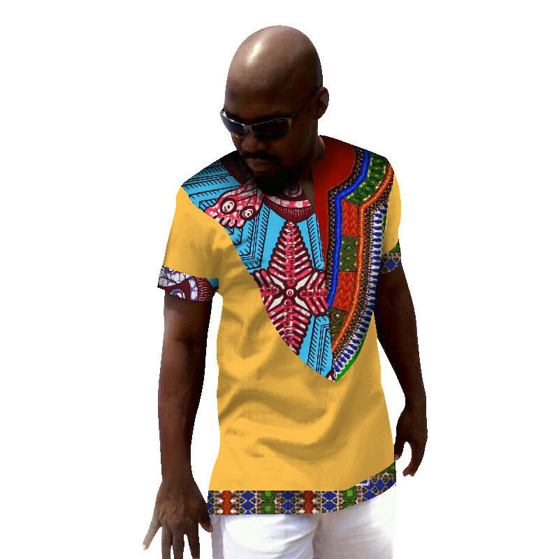 <font><b>African</b></font> Clothing Sale Traditional Africa Bazin Riche 2019 <font><b>Men's</b></font> T-<font><b>shirt</b></font> <font><b>Wax</b></font> Cotton Cloth Joining Together With Short Sleeves image
