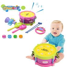 5pcs/Set Baby Developmental Educational Musical Instruments Kids Drum Rattles Kit Children Toy Baby Kids Gift Set(China)