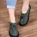Plus size 41-43 sapatas das mulheres primavera e no verão rodada toe salto plana apartamentos sapatos casuais sapatos de couro genuíno quatro estações apartamentos