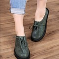 Plus size 41 - 43 women's shoes spring and summer round toe flat heels genuine leather flats casual  shoes four seasons flats