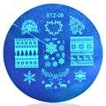 1 шт. Christmas XMAS 5.5 см Круглый Ногтей Штамп Плиты Шаблона Изображения # STZA08