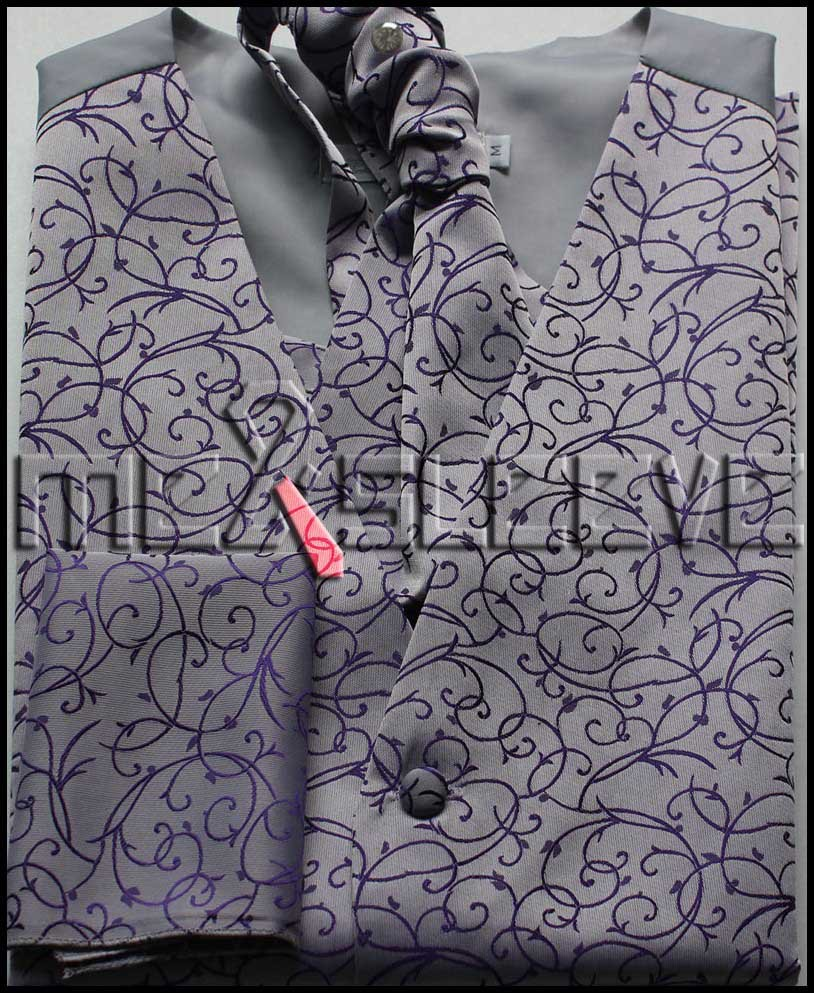 new hot sale Men wedding Bridegroom purple swirl waistcoat 4pcs