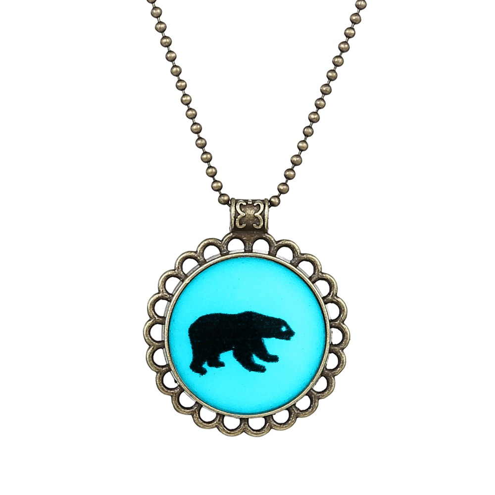 glass cabochon Fashion Bear Animal Glowing Pendent Necklace Glow In The Dark Personality Jewelry Punk Accessories