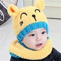 Rápida de Alta Calidad 2016 de Corea del Encantador Lindo Caliente Del Todo-Fósforo sombreros Carácter Niños Bebé Hat + Scarf Set Niños Otoño Tapa y el invierno