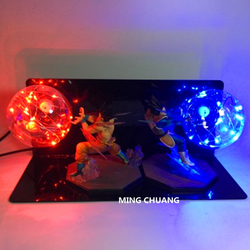 5Dragon Ball Z Saiyan Son Goku Battle Vegeta Table Lamp With LED Light PVC Action Figure Collectible Model Toy D441 6pcs set dragon ball z son goku vegeta broly kakarotto battle ver pvc action figures dragonball figure toys collection model toy