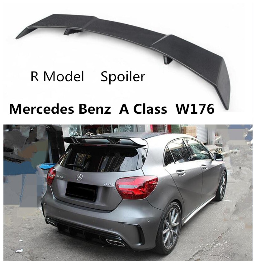 R Model <font><b>Spoiler</b></font> For <font><b>Mercedes</b></font> Benz <font><b>A</b></font> <font><b>Class</b></font> <font><b>W176</b></font> A45 A180 A200 A260 2013-2018 High Quality Carbon Fiber & FRP <font><b>Rear</b></font> Wing <font><b>Spoilers</b></font> image