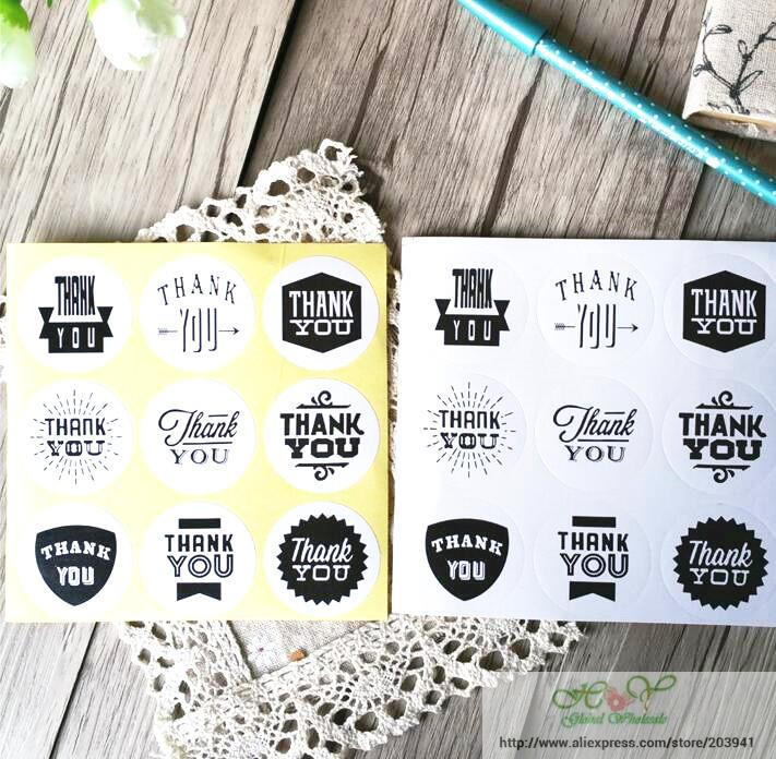 90pcs/lot Vintage White Kraft Paper Thank You Stationery label sticker Students DIY Retro Seal For handmade products