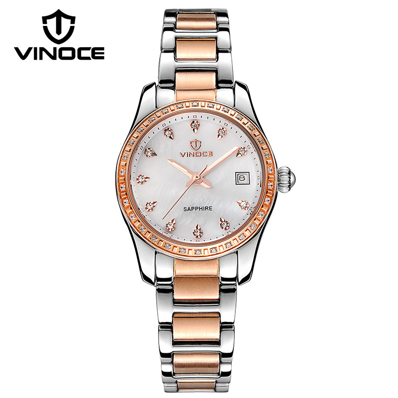 ФОТО VINOCE Top Brand Luxury Watch Women 2016 Stainless Steel Women Mechanical Watches Calendar Fashion Shell Dial Montre Femme
