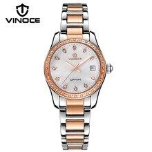 VINOCE Top Brand Роскошные Часы Женщины 2016 Женщин Нержавеющей Стали Механические Часы Календарь Мода Shell Наберите Montre Femme