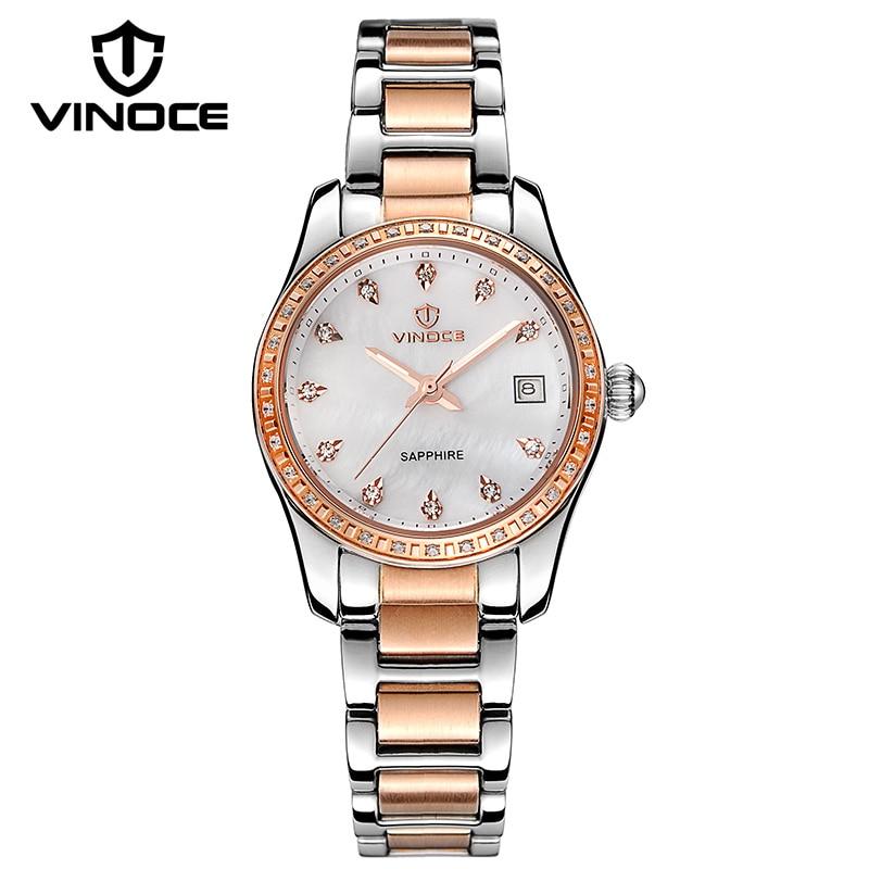VINOCE Top Brand Mechanical Watches Women Luxury Stainless Steel Ladies Bracelet Watches Shell Dial Relogio Feminino #633240